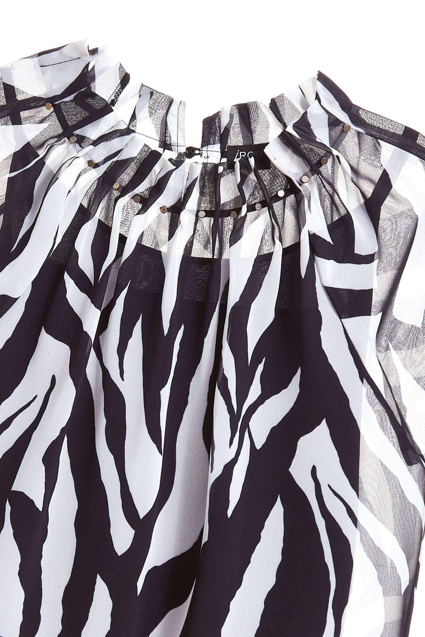 斑馬紋經典時尚上衣,上衣,短袖上衣,秋冬穿搭,透膚上衣,雪紡,雪紡上衣