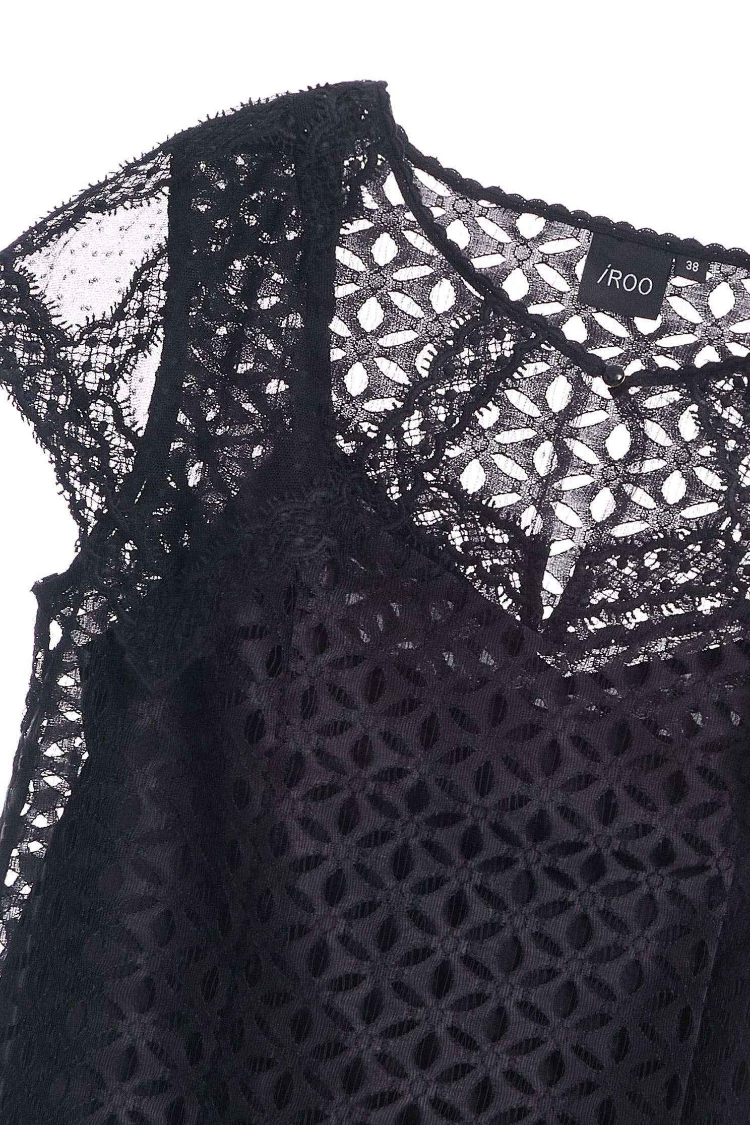 優雅全蕾絲經典設計短袖上衣,上衣,短袖上衣,秋冬穿搭,蕾絲,蕾絲上衣,透膚上衣,黑色上衣