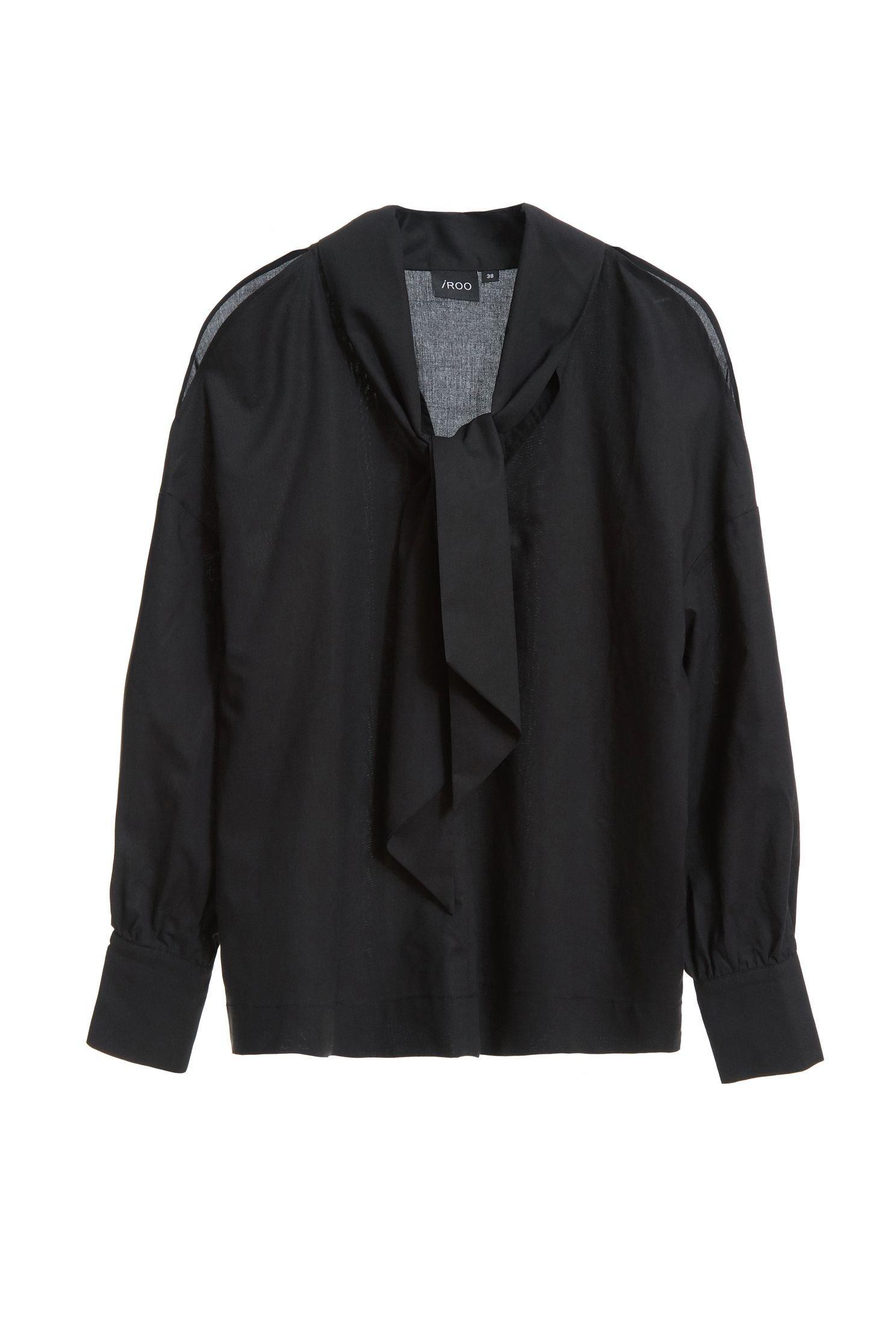綁帶挖肩襯衫,挖肩上衣,秋冬穿搭,襯衫,長袖上衣,黑色上衣
