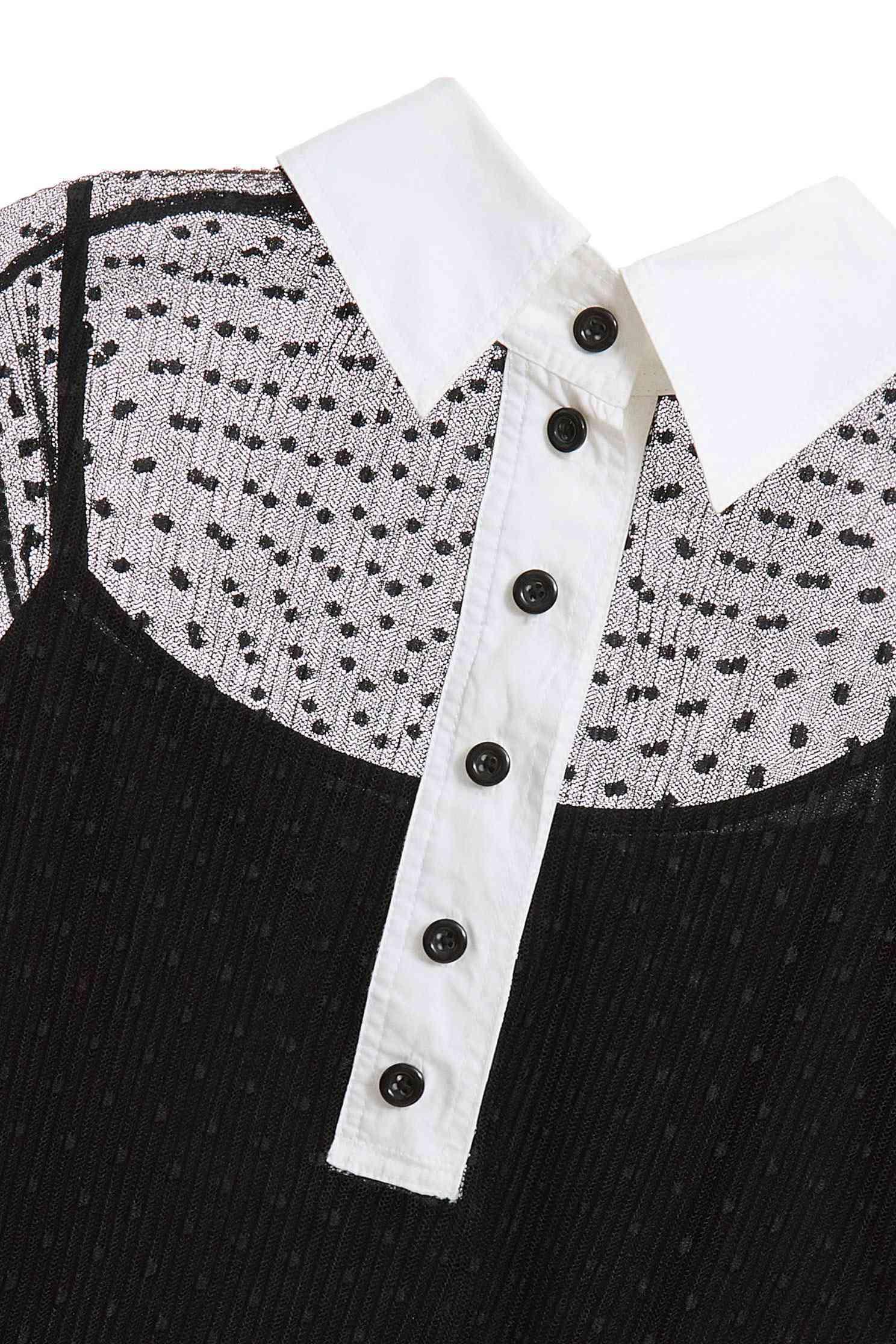 透膚襯衫式上衣,上衣,秋冬穿搭,襯衫,透膚上衣,長袖上衣,黑色上衣
