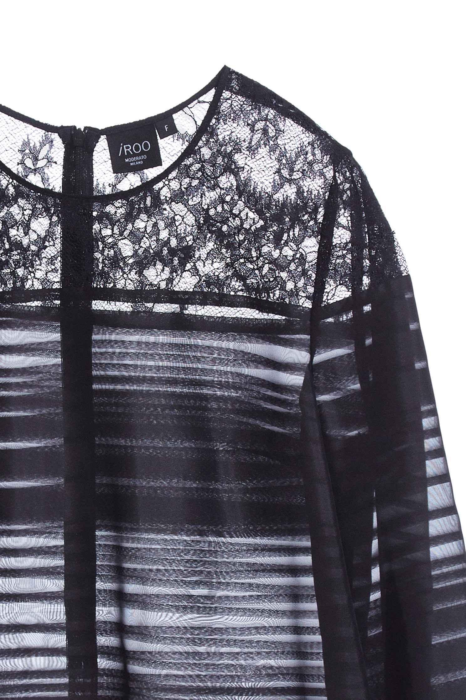 優雅透膚上衣,上衣,圓領上衣,春夏穿搭,秋冬穿搭,蕾絲,蕾絲上衣,透膚上衣,長袖上衣,黑色上衣