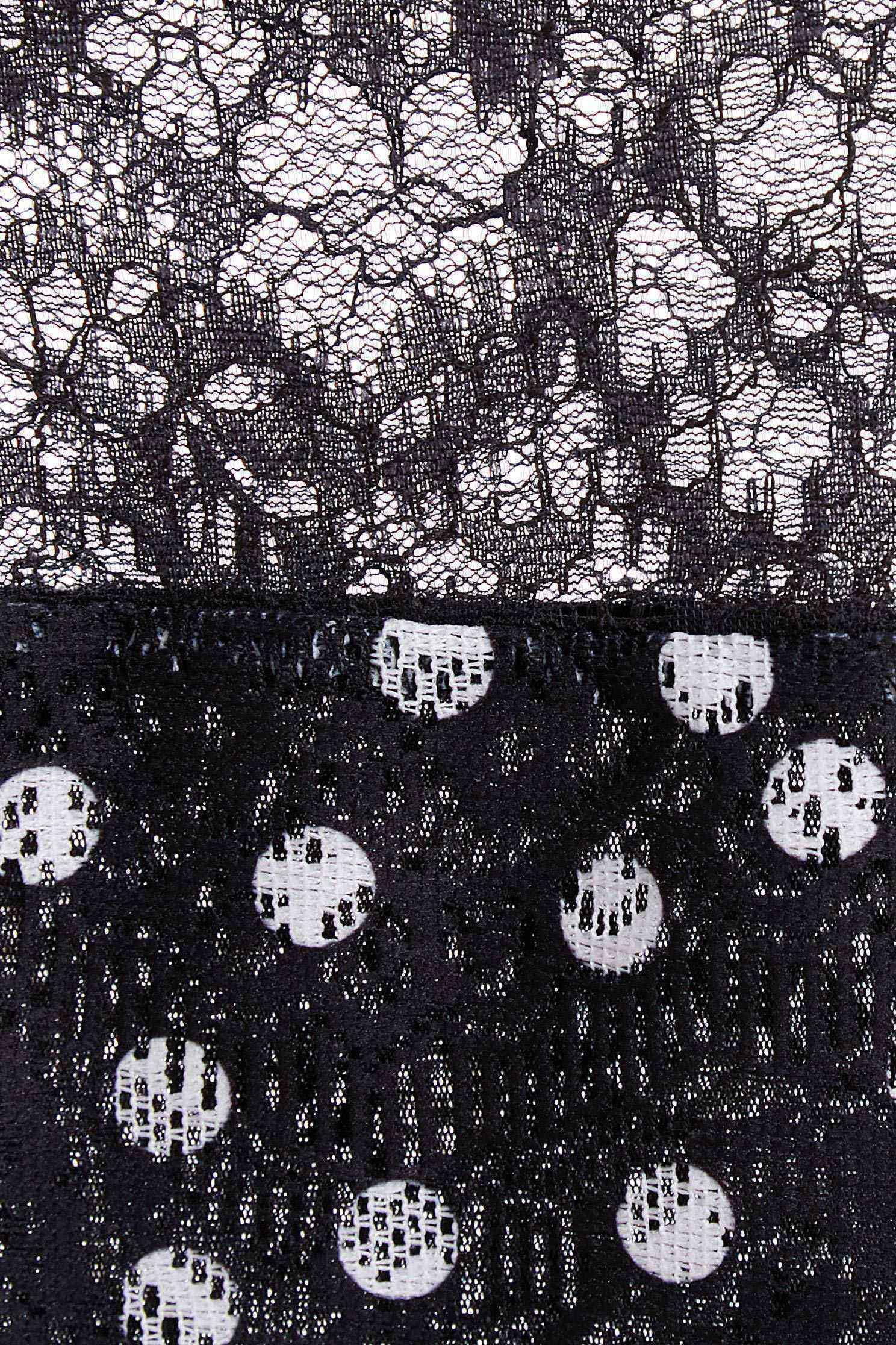 點點蕾絲拼接上衣,上衣,春夏穿搭,秋冬穿搭,簍空上衣,蕾絲,蕾絲上衣,透膚上衣,風象星座幸運色,黑色上衣