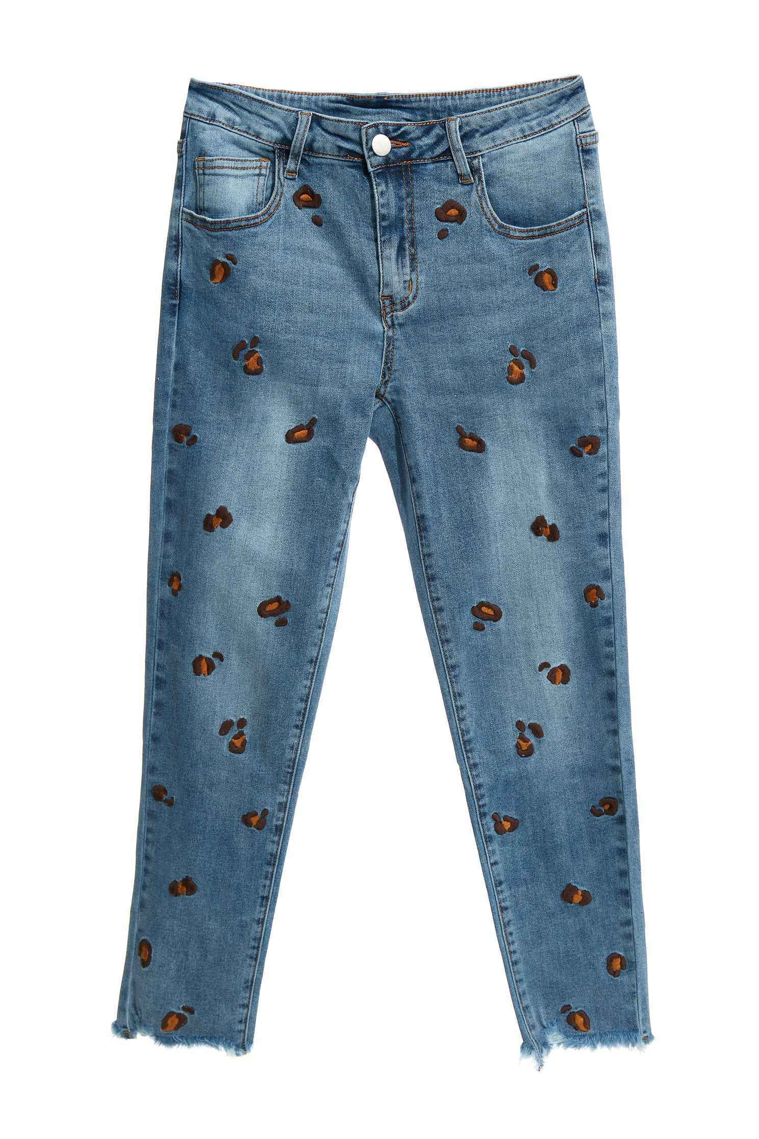 豹紋繡花窄管牛仔褲,丹寧,春夏穿搭,牛仔,牛仔褲,牛仔長褲,秋冬穿搭,純棉,繡花,長褲