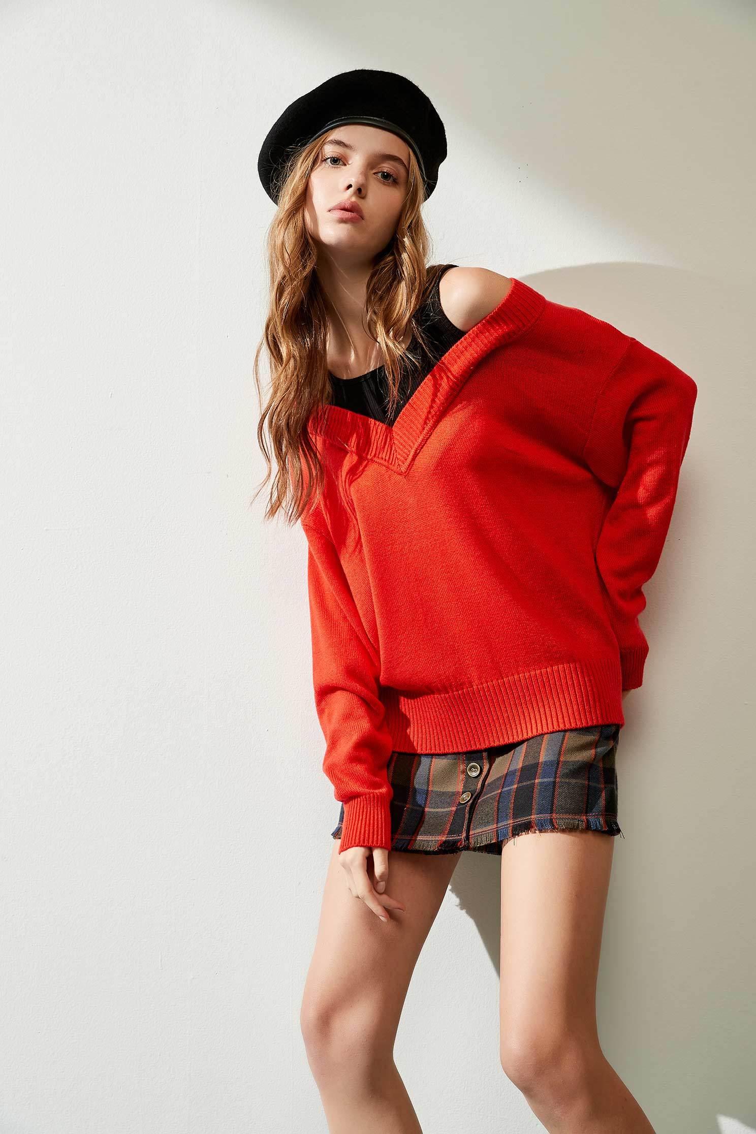 假兩件針織衫,挖肩上衣,秋冬穿搭,針織,針織上衣,針織衫,長袖上衣
