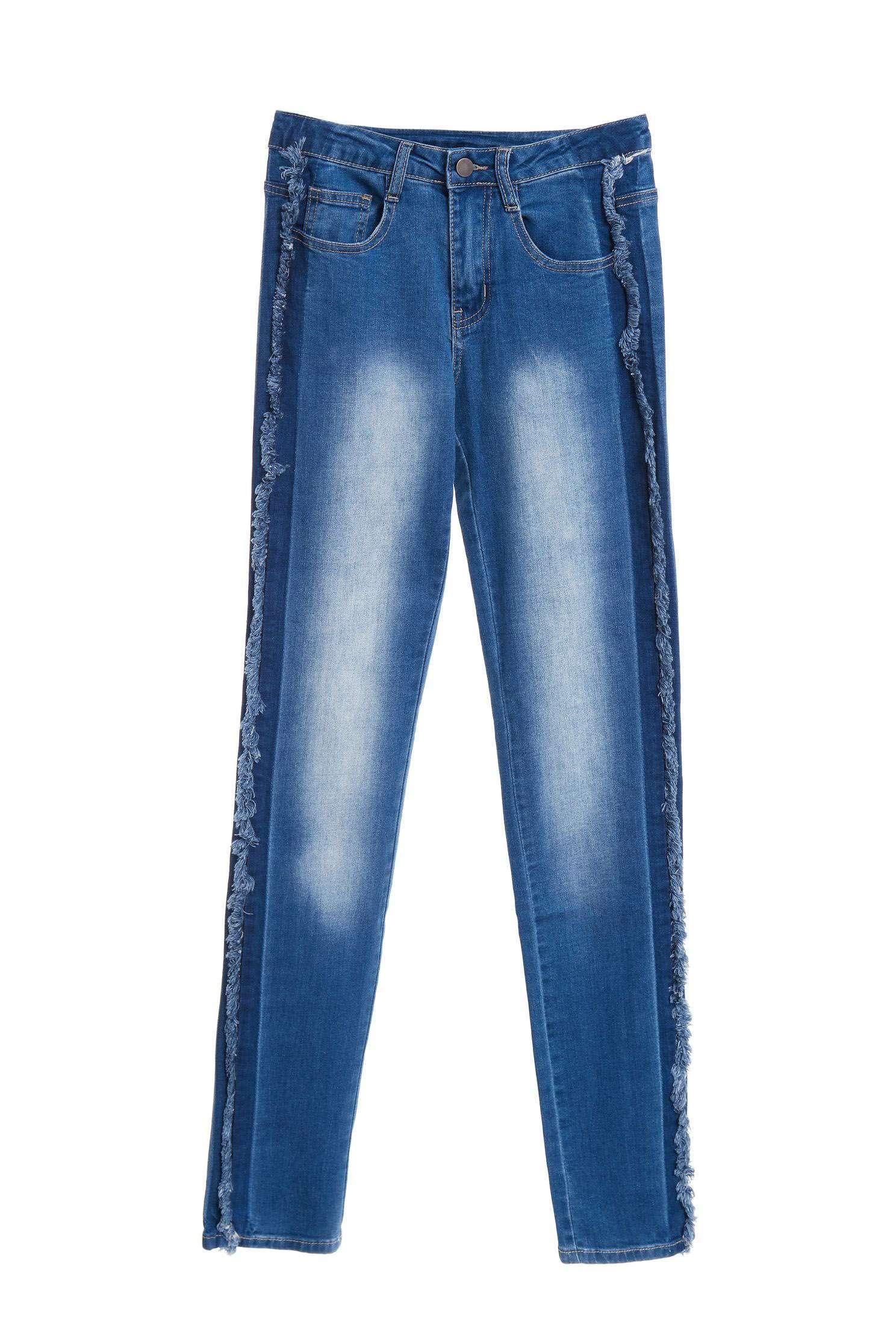 側邊不對稱的毛邊牛仔褲,丹寧,牛仔,牛仔褲,牛仔長褲,秋冬穿搭,長褲