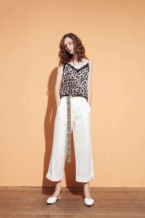 豹紋腰帶造型長寬褲