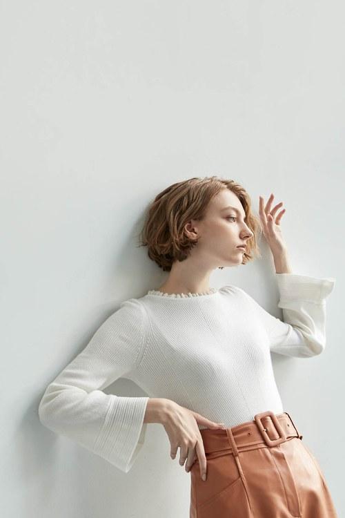 雪紡荷葉邊針織衫