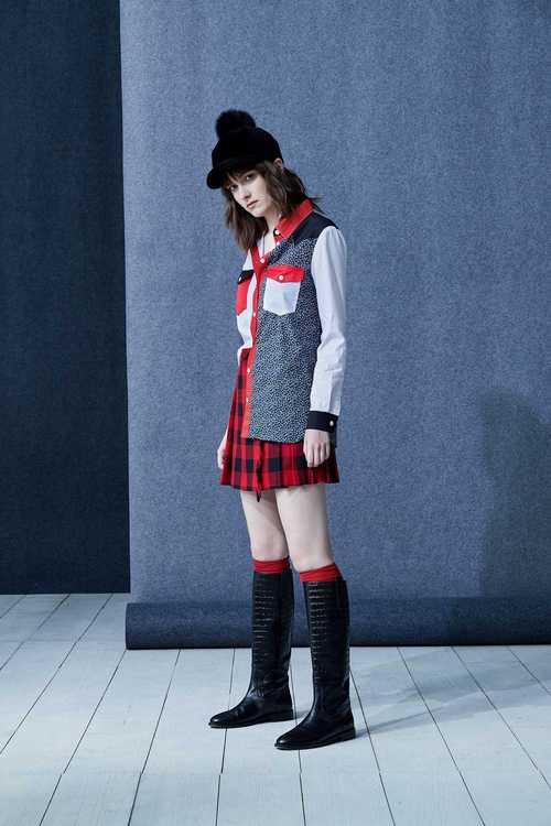 格紋百褶流行設計褲裙