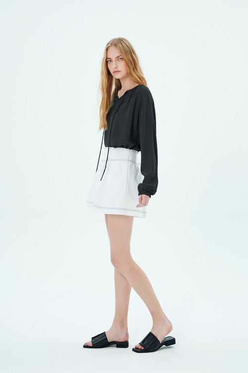 跳色壓線短褲裙