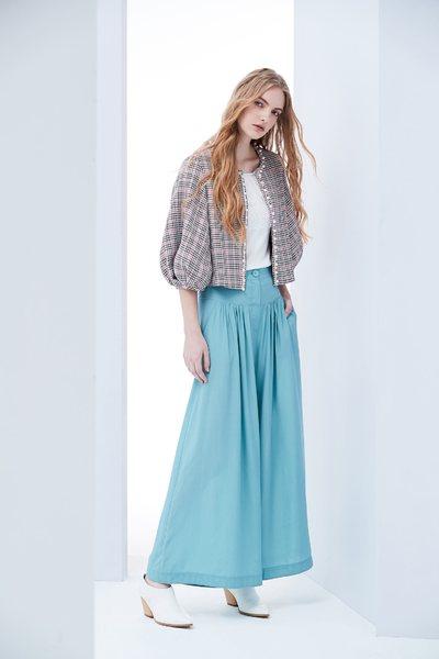 復古格紋女人設計長袖外套
