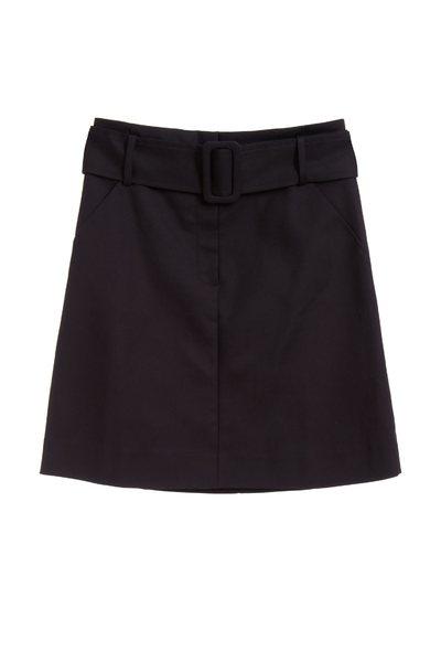 素面腰帶經典短裙