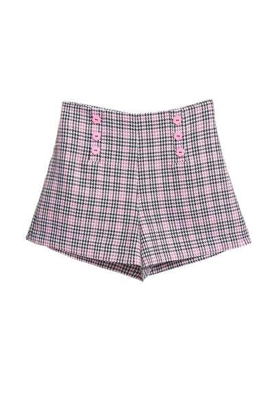 格紋雙排釦女人設計短褲