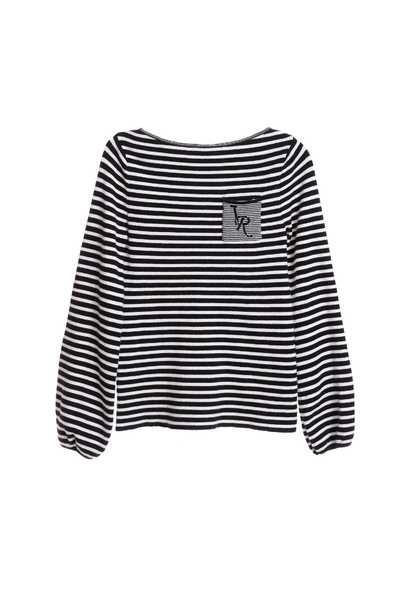 經典黑白細條紋針織上衣