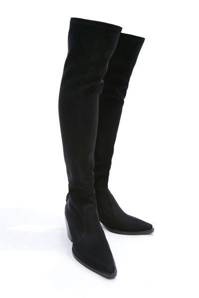 (XeiXei)窄管過膝長靴